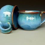 Blue Ceramic Cappuccino Mug