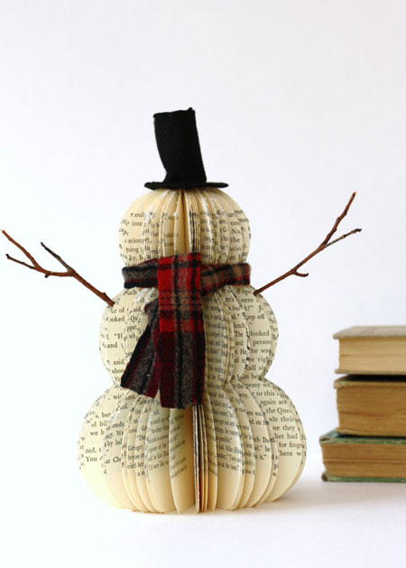 Vintage Book Snowman