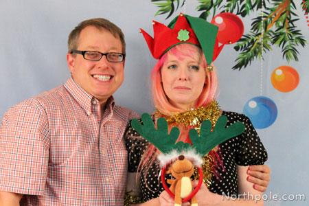 Raymond wearing big reindeer antlers