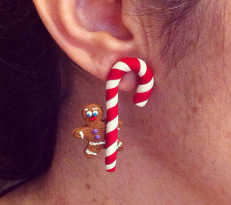 Candy Cane & Gingerbread Man Earrings