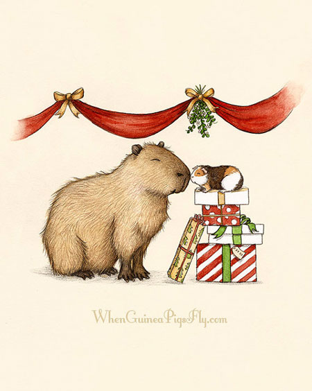 Capybara & Guinea Pig under the Mistletoe ~ Etsy Seller: When Guinea Pigs Fly