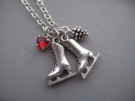 Ice Skates Charm Necklace ~ Etsy Seller: Silver Trumpet Jewelry