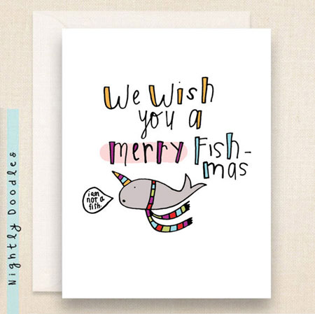 Narwhal Holiday Card ~ Etsy Seller: Nightly Doodles