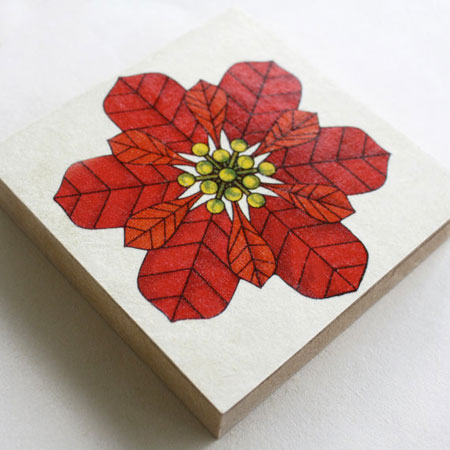 Poinsettia Art Block ~ Etsy Seller: retroblox