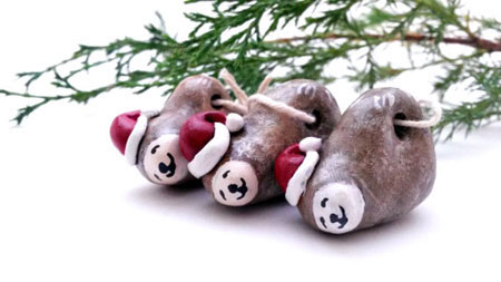 Santa Sloth Christmas Ornament ~ Etsy Seller: Possum Tree