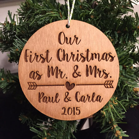 Our First Christmas as Mr. & Mrs. Laser Engraved Wood Ornament