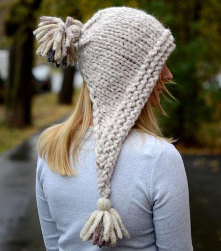 Chunky Knit Hood Hat