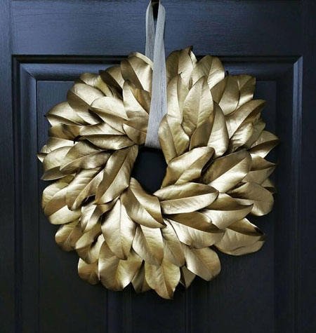 Holiday Gold Magnolia Leaf Wreath