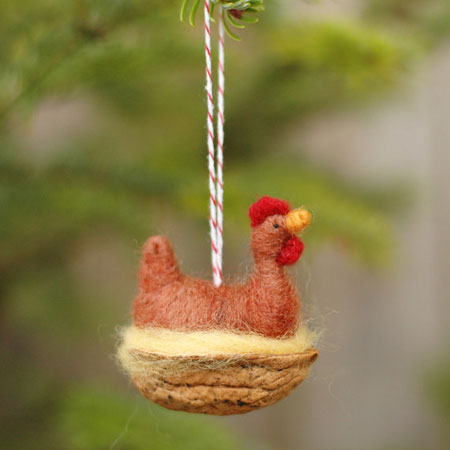 Red Chicken in a Walnut Christmas Ornament