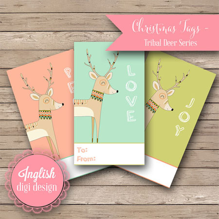 Etsy Item of the Day: Printable Deer Christmas Tags • Inglish Digi Design