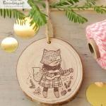 Wooden Fox & Guitar Ornament