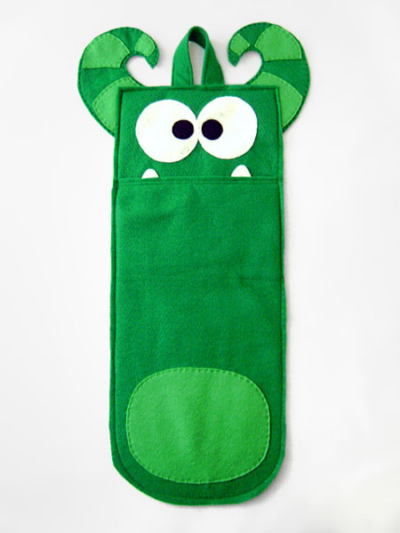 Etsy Item of the Day: Green Creature Stocking • Red Marionette