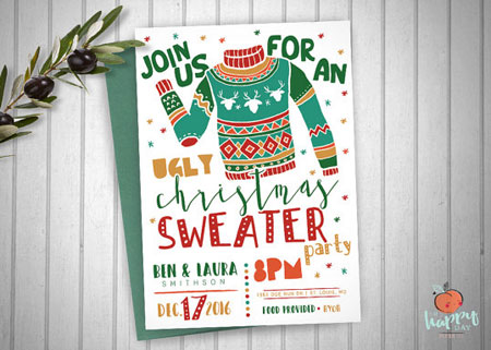 Ugly Christmas Sweater Party Invite.Etsy Item Of The Day Printable Ugly Christmas Sweater Party