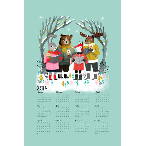 2018 Calendar with Christmas Carolers