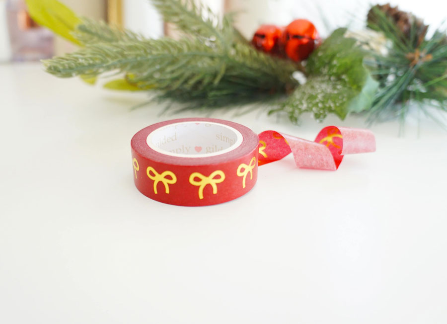 Festive Red Washi with Gold Foil Bows