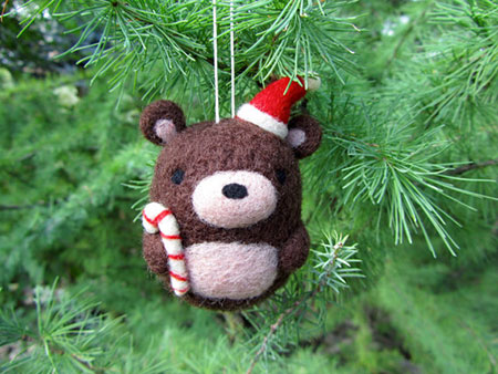 Needle Felted Bear Ornament
