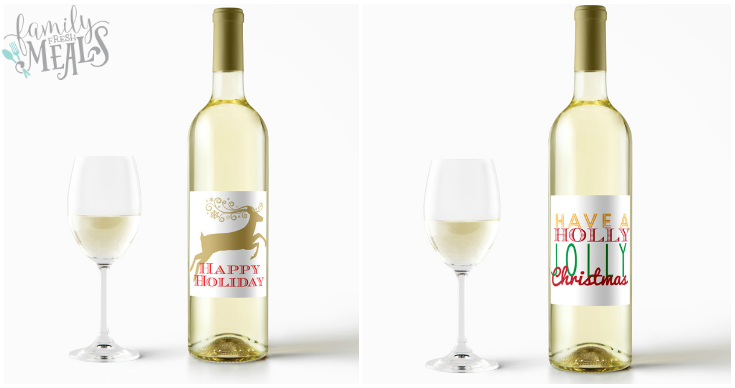 Free Printable Holiday Wine Labels - White