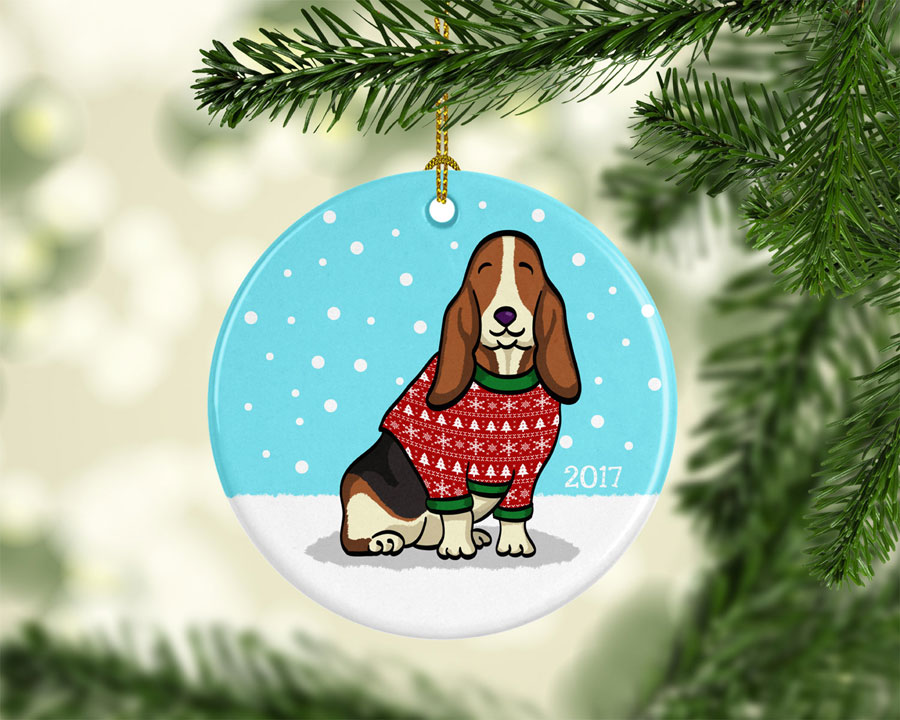 Ugly Sweater Basset Hound Ornament
