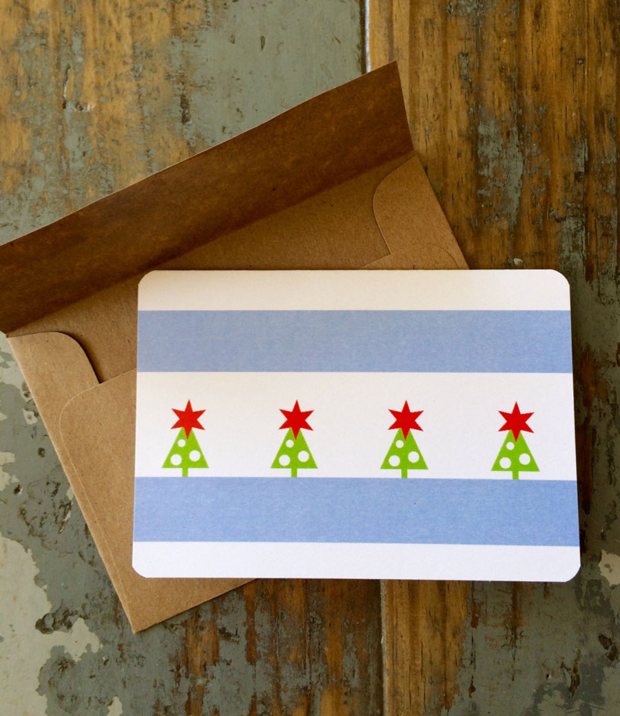 Chicago Flag Christmas Card