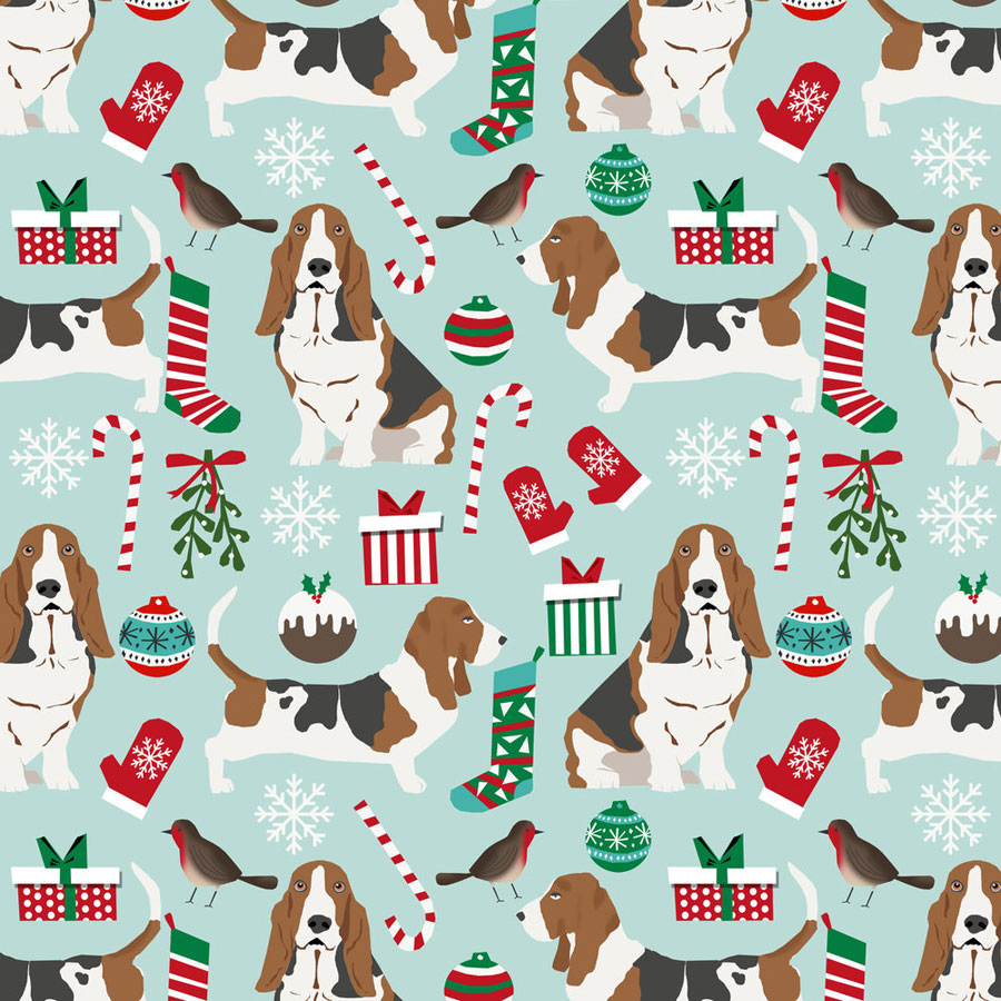 Christmas Basset Hound Fabric