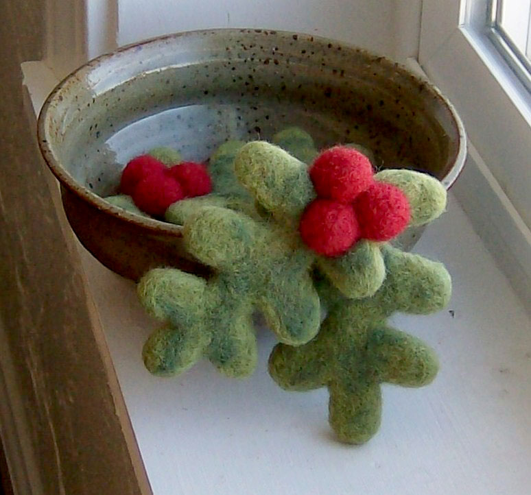 Felted Holly Berry Brooch