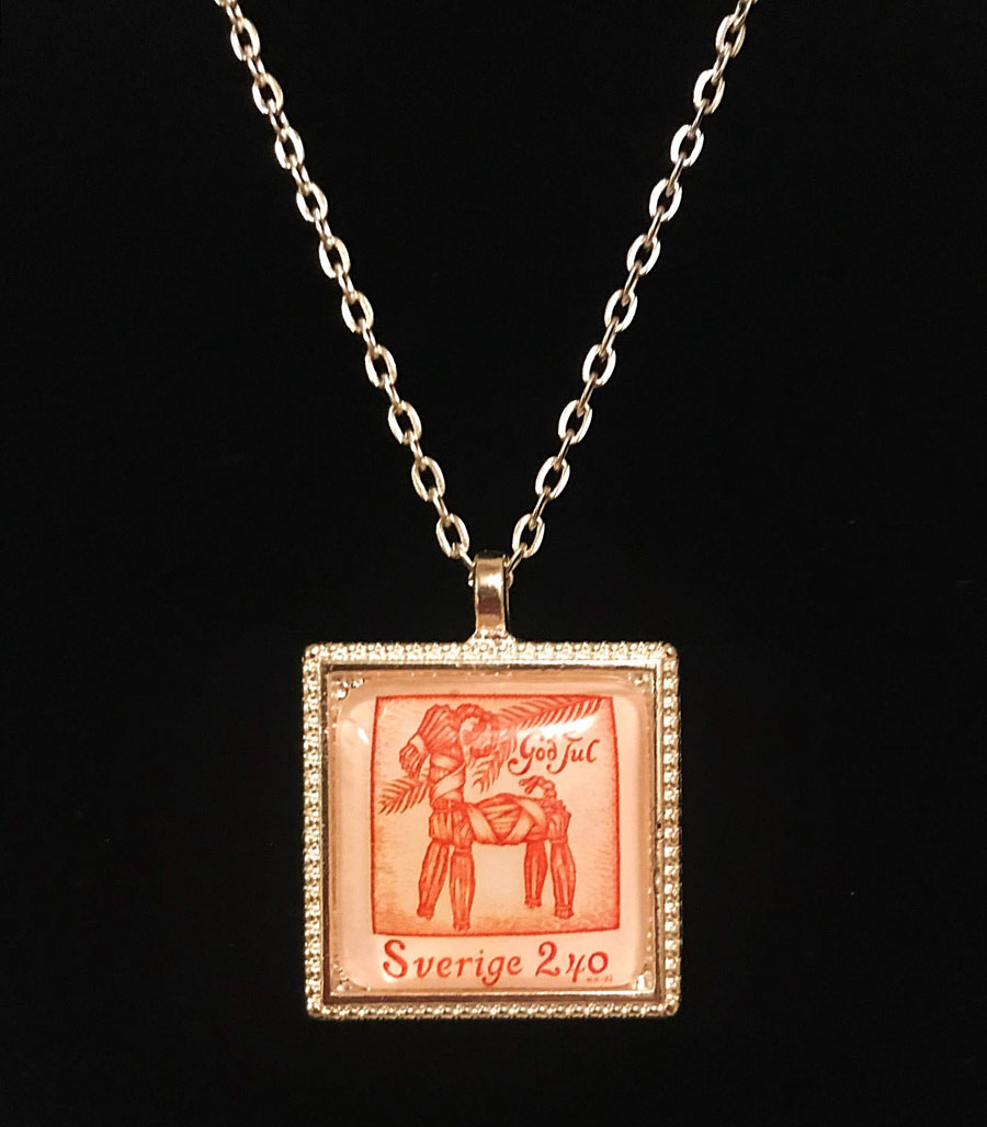 Swedish Christmas Postage Stamp Necklace