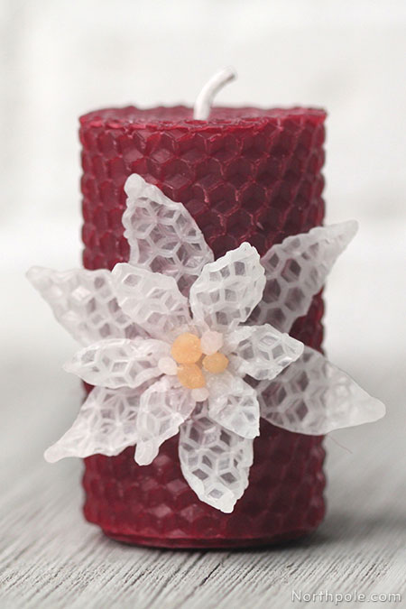Surprisingly Simple Embellished Beeswax Candles: 3D Poinsettia
