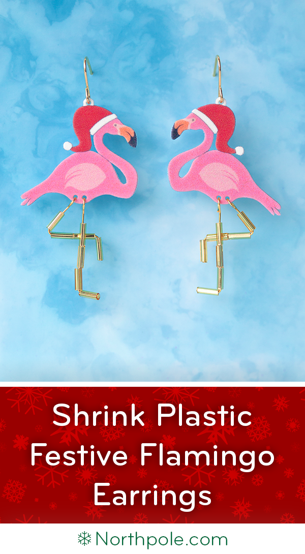 Shrink Plastic Festive Flamingo Earrings � Free Printable! Northpole.com Craft Cottage
