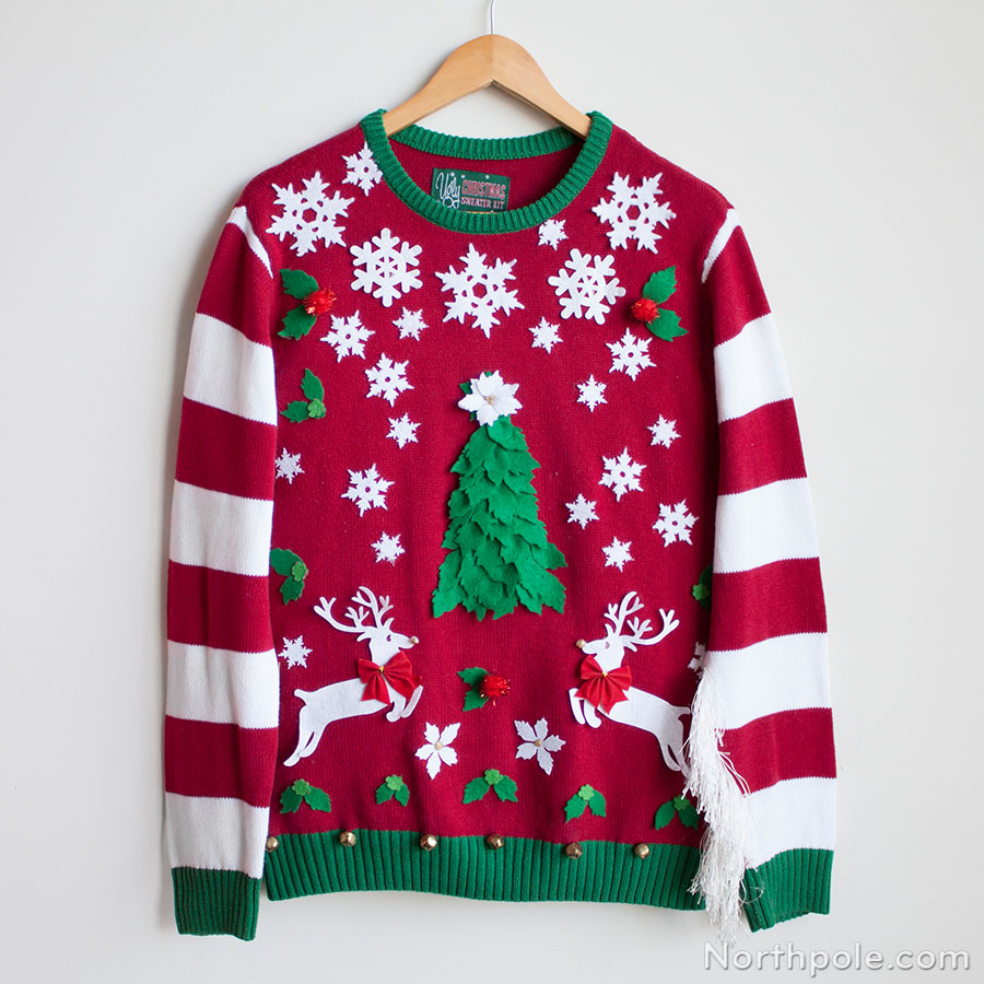 Wildly festive Christmas sweater with DIY temporary stickers