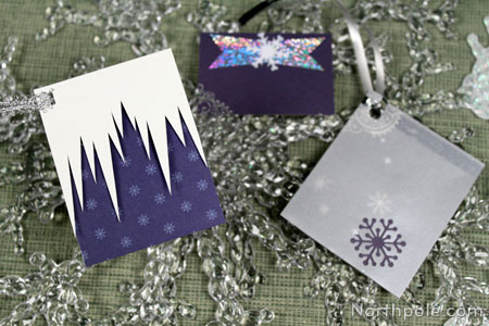 For wintery tags, cut icicles, add a layer of vellum, or use silver ribbon.