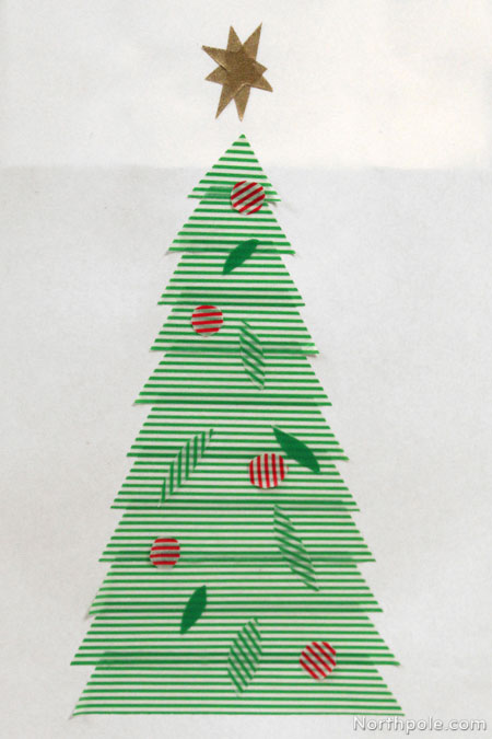 Striped washi tape Christmas tree bag decoration