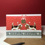 Bassets Under the Mistletoe Card