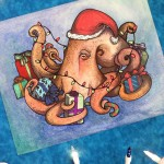 Gift Giving Holiday Octopus Watercolour Painting